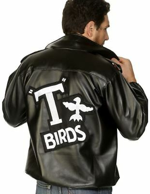 Mens Grease Black Leather Look T Bird Jacket 50s Danny Fancy Dress Costume