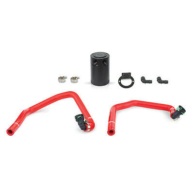 Mishimoto Baffled Oil Catch Can Kit - Ford Mustang 2.3L EcoBoost - Red