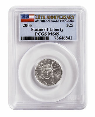 2005 - 1/4oz $25 Platinum American Eagle MS69 PCGS First Strike Flag Label
