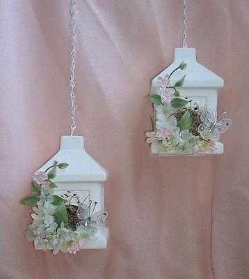 """2 Cutest Little Floral Chic Shabby Ceramic Hanging Bird House Decor White 6"""""""