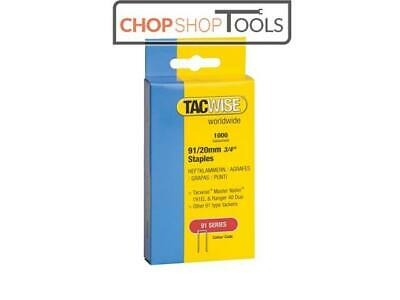 Tacwise TAC0284 91 Narrow Crown Staples 20mm - Electric Tackers Pack 1000
