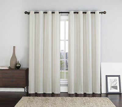 Two (2) Ivory Crushed Jacquard Window Curtain Panels: Stripe Design, Grommets
