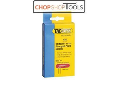 Tacwise TAC0287 91 Narrow Crown Divergent Point Staples 18mm - Electric Tackers