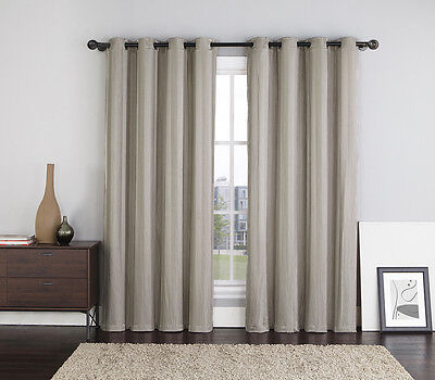Two (2) Taupe Crushed Jacquard Window Curtain Panels: Stripe Design, Grommets