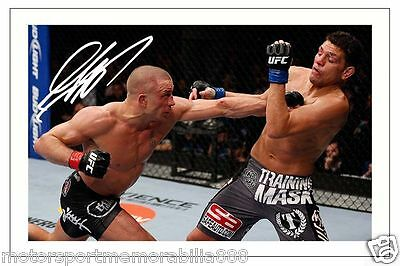 GEORGES ST PIERRE UFC MMA SIGNED 6x4 PHOTO PRINT AUTOGRAPH