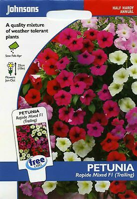 Johnsons Pictorial Pack Flower - Petunia Rapide Mixed F1 (Trailing) - 100 Seeds