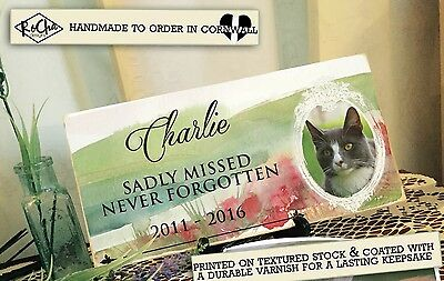 ANY PET Photo Memorial Plaque Personalised Keepsake -YOUR Picture & Wording CAT