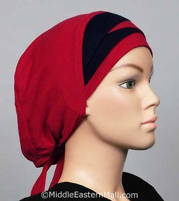 Islamic clothing Al-Amira Hijab cap  Bonnet #12 Burgundy & Black Ships From USA