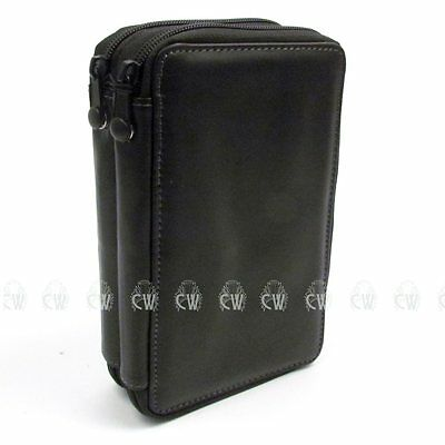 Global Leather 48 Pencil Case. Black. Empty Storage for Artists Pencils.