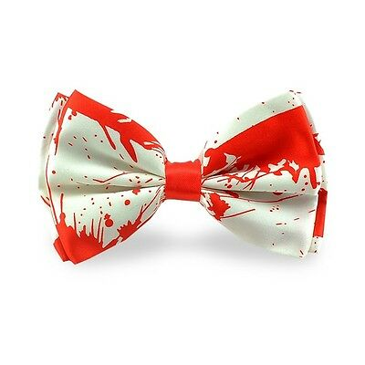 Unisex Vampire Halloween Red Blood Stain Print Novelty Bow Tie - Brand New