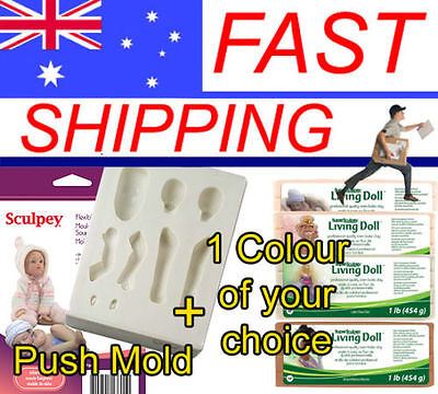 Baby Push Mold with your colour choice of 1 x Living Doll Polymer Clay