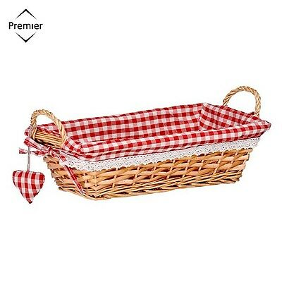 Rectangle Wicker Willow Basket With Red Gingham Lining With Handles Tray Hamper