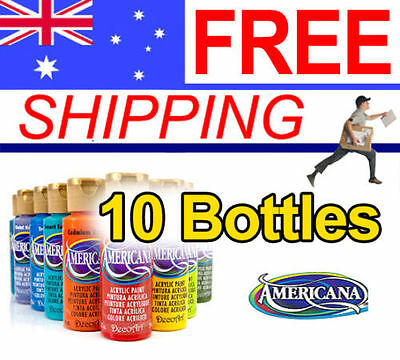 Americana Acrylic Paint - 59ml - 10 Bottles - FREE POST - Many Colours available