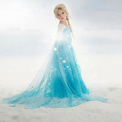 New!!Girls Disney Elsa Frozen dress costume Princess Anna party dresses cosplay