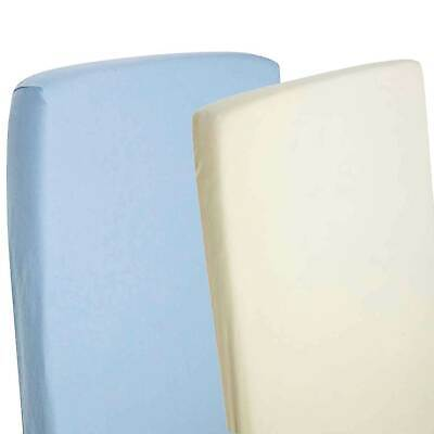 2x Crib Jersey Fitted Sheets 100% Cotton Pram 40x90cm Blue / Cream