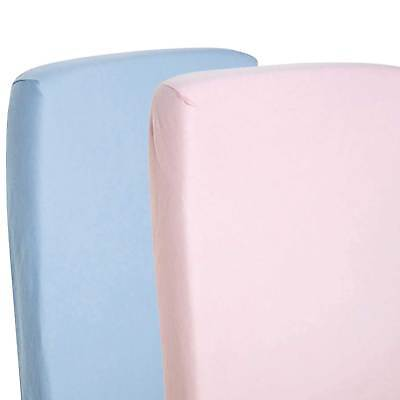 2x Crib Jersey Fitted Sheets 100% Cotton Pram 40x90cm Pink / Blue