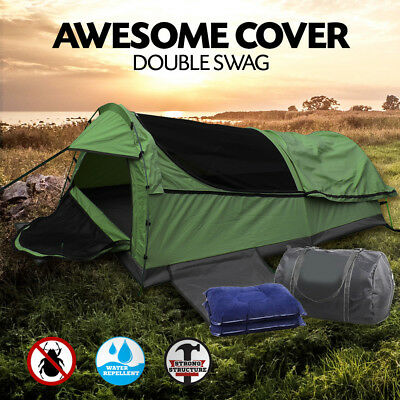 Double Swag Camping Swags Fishing Deluxe Aluminum Poles Dome Canvas Tent SanHima