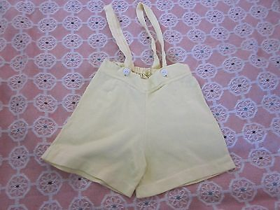 Vintage Infant Baby Doll Boys Yellow Shoulder Strap Shorts Sun Suit Waist 16""