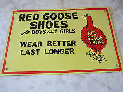 "Red Goose Shoes For Boys And Girls Metal Sign  14"" X 9.5""  Aaa Sign Co. Nice"