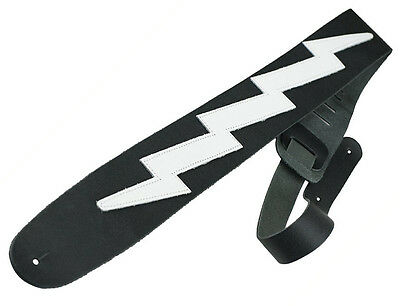 Guitar Strap 100% Leather Acoustic Electric Classical Black White Lightning Bolt