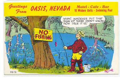 Nevada Postcard - Oasis NV, Motel Cafe, 50s Laff Gram Advertising (Elko County)