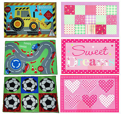 Childrens bedroom mat 60x90cm for boys or girls choice of 6 designs