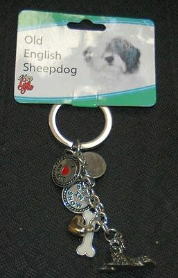 "METAL 6-CHARMS Old English Sheepdog DOG KEY CHAIN RING 4"" Little Gifts - NEW"