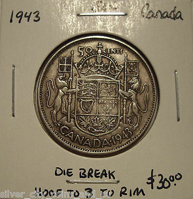 Canada George VI 1943 Die Break Silver Fifty Cents