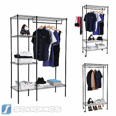 Songmics Black Metal Heavy Duty Garment Clothes Hanging Rails Stand with Wheels