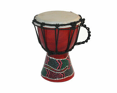 """6"""" West African Mali Goatskin Small Jembe Djembe Drum with Painted Design"""