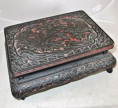 """10.7"""" Antique ? Chinese Black & Red Cinnabar Style Wood Stand / Miniature Table"""