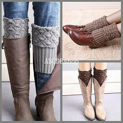 Women Ladies Winter Knit Crochet Warm High Knee Leg Warmers Leggings Boot Socks
