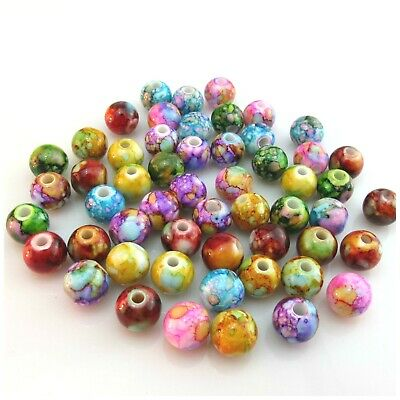 50Pcs 10Mm Flower Painted Acrylic Round Beads For Jewellery Making