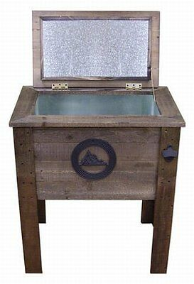 NEW Rustic Wooden 57 Quart Deck Cooler! Mountains Wood Patio Pool Party Outdoor