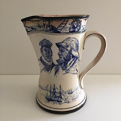 """Antique 1907 Buffalo Pottery Hand Painted  Marine Jug, 9"""" T x 9"""" Widest w/Handle"""