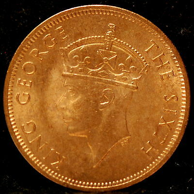 Syechelles, 1948 5 Cents, Red Uncirculated & some light Brown               ..gm