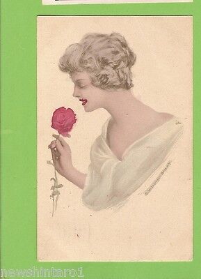 #m.  1914  Postcard - Lady With Rose, Coloured