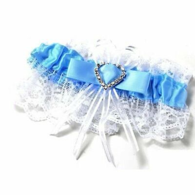 Garter Bridal Wedding Satin - White Blue Purple Diamante Bow Heart Lace Diamante
