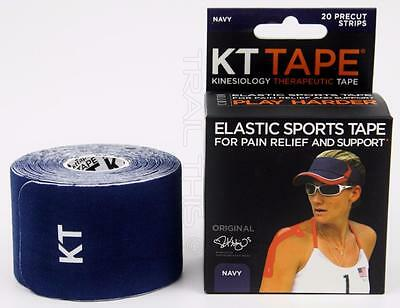 KT Tape Therapeutic Elastic Body Sports Tape Roll of 20 Strips - Cotton - NAVY