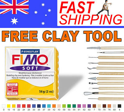 FIMO Soft Polymer Clay 56g Block - 10 Blocks - Choice of 24 colours + Free Tool