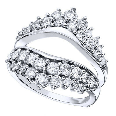 2 ct tw Natural Round-cut Diamond Enhancer Solitaire Ring Guard 14K White Gold