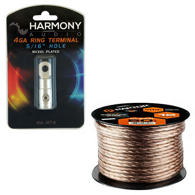Raptor R312-50 12 Awg 50Ft Vice Copper Clad Aluminum Speaker Wire Ring Terminal