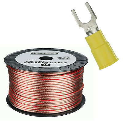 Install Bay IBSW12-250 250Ft High Quality 12GA Clear Speaker Cable Ring Terminal