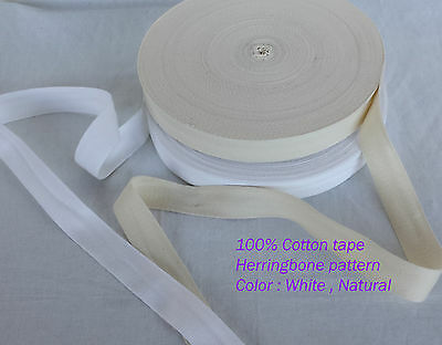 "50mm 2"" Cotton Herringbone Twill Tape Fabric Dress Making sewing Bunting STRAPS"