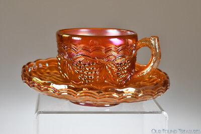 pre-1940 IMPERIAL GRAPE by Imperial Glass MARIGOLD IRID. Cup & Saucer Set