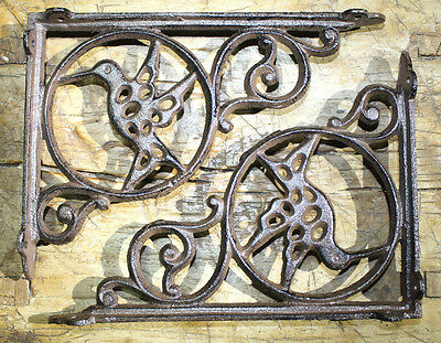 4 Cast Iron Antique Style HUMMINGBIRD Brackets, Garden Braces Shelf Bracket