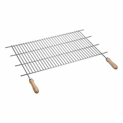 Sauvic 02758 Grille de Barbecue Inoxydable avec Manches Bois 80 x 40 cm NEUF