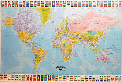 (Laminated) World Map Europe Centred Poster (61X91Cm) Flags Top & Bottom Art