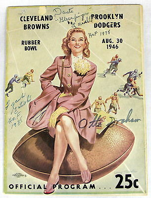 8/30/1946 Cleveland Browns Dodgers Program Signed By Otto Graham & More Psa !!!