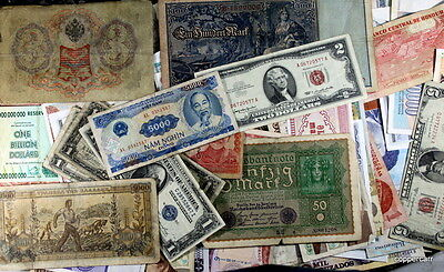 Collectors Lot 60 Circulated Foreign Banknotes + OLD US Silver Notes 100 Yr Old